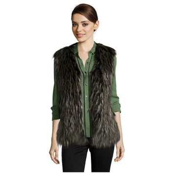 Via Spiga Black Faux Fur Vest, Size Medium