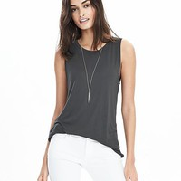 Long Hi-Neck Crew Tank | Banana Republic