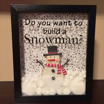 Christmas Snowman Shadow Box