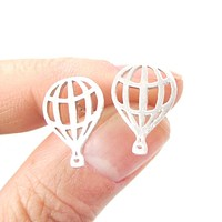 Miniature Hot Air Balloon Outline Cut Out Shaped Stud Earrings in Silver | DOTOLY