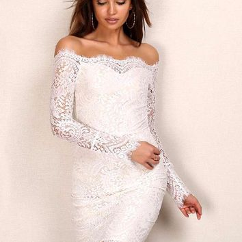 Off Shoulder Floral Lace White Dress