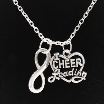 Infinity I Love Cheerleading Heart Cheerleader Gift Necklace