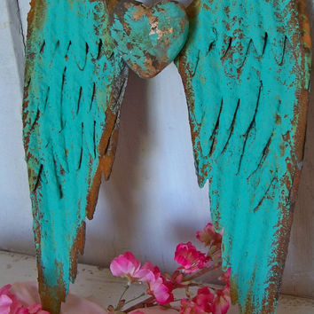 Metal wall wings with heart deep turquoise aqua rusty distressed sculpture home decor Anita Spero