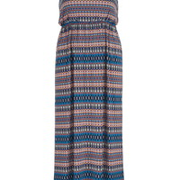Plus Size - Multicolor Patterned Maxi Dress With Bar Back - Multi
