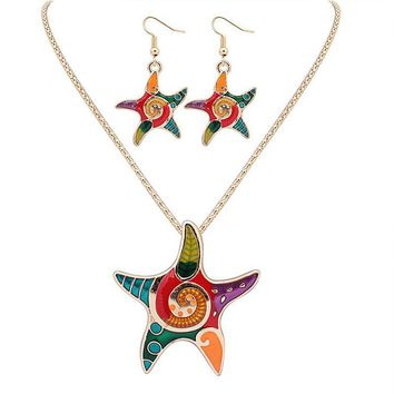 Fashion Jewelry High Quality Golden Multicolor Starfish Design Necklace Earring Set