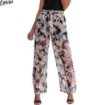 Multi Color Tie Waist Floral Print Chiffon Wide Leg Palazzo Pants Summer Women Casual Loose Pockets Front Bottom Wear