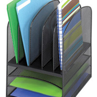 Safco Onyx Desk Organizer with Letter Trays