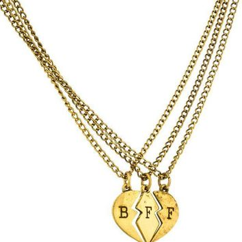 MDIGON1O Antique Goldtone Three Best Friend Forever Broken Heart Pieces Pendant with an 18 Inch Adjustable Necklaces Day First