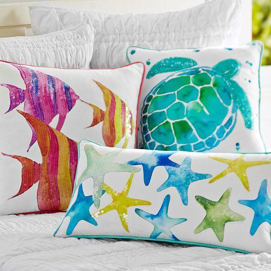 Sea Creature Watercolor Pillow Cover from PBteen Bedding Love