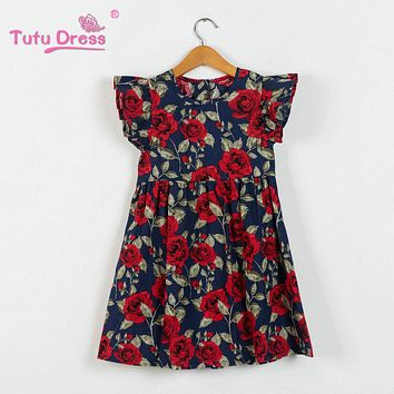 Summer Girls Dress Floral Print Princess Dresses For Baby Girls e49467e8b