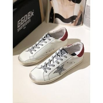GGDB Golden Goose Uomo Donna Sliver Star Fashion Shoes Low Top Red Sneaker