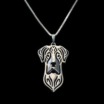 Gold & silver 1pcs Natural Eared Great Dane Necklace 3D Cut Out Puppy Dog Love Pendant Memorial Necklaces Pendants Christma Gift