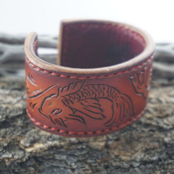 Leather cuff bracelet, hand tooled Japanese Koi Fish