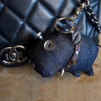 Cute keychain key chain key fob key ring with big blue hippo animal Jeans gift for her