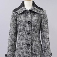 Well Traveled Crosshatch Tweed Ribbed Collar Coat in Salt & Pepper | Sincerely Sweet Boutique