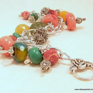 OOAK Handmade Pink Coral Chunk, Pink Fossil Coral, Glass, Silver, Jade, Green Aventurine Wire Wrapped Beaded Bracelet