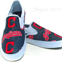 Cleveland Indians Mens Shoes- MLB- Slip Ons - Casual- Baseball Fan