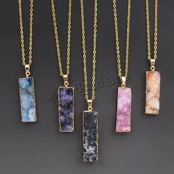 Women's Colorful Natural Stone Necklace Pink Quartz Druzy Crystal Necklace Pendants Statement Necklaces Summer