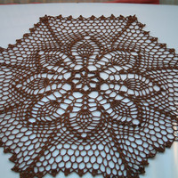 Flower Crochet Lace Doily, Table Accessory, Modern Home, Brown color, Gift for mom Crochet center piece .handmade doily
