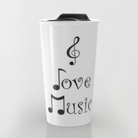 I Love Music Travel Mug by Moonshine Paradise
