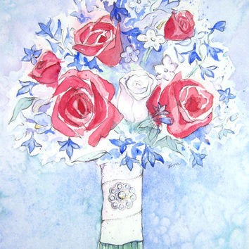 CUSTOM Watercolor Bouquet Painting - Wedding Anniversary Artwork - Gift for Wife - Unique Bridal Shower Gift