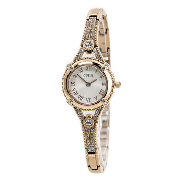 Guess U0135L3 Women's Dress White Dial Rose Gold Steel Bangle Bracelet Watch