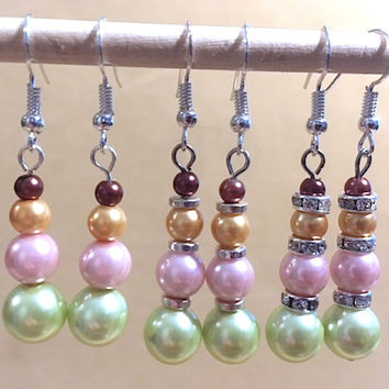 Graduated Pearl Dangle Earrings, Handmade Original Fashion Jewelry, Gelato Colored Pearls, Classic Simple Elegant Sophisticated, Ladies Gift