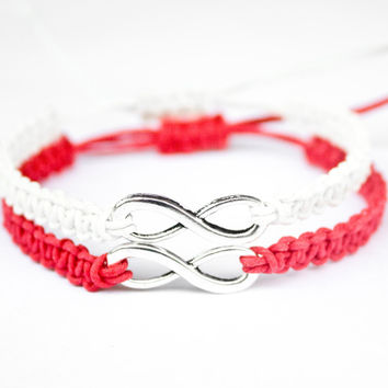 Infinity Bracelets Red and White