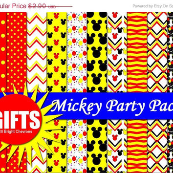 35 % OFF PLUS GIFTS Mickey Party Pack Digital Paper Scrapbooking Birthday Party Paper Goods mouse theme Background clubhouse toy party Invit