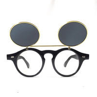 vintage 1980's round flip up sunglasses eyeglasses black plastic gold frames sun glasses mens womens accessories accessory fashion retro