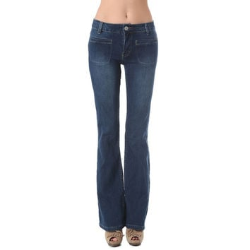 Flare jeans with patch pockets