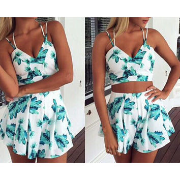 PRINTED SEXY BEACH TWO-PIECE SUIT
