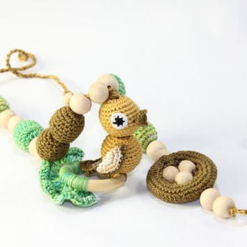 Nursing necklace / Teething necklace /Bird Nest Eggs / Crochet Necklace for mom and child / Jewelry for Mom / Crochet sling necklace