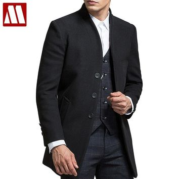 Men's Wool Winter Cashmere coat  Long Section Single Breasted Overcoat