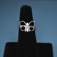 "SARAH COVENTRY Vintage 1973 ""Papillion"" Silver Butterfly Adjustable Ring, Stylized Beauty! #A515"