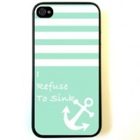 iPhone 4 Case Silicone Case Protective iPhone 4/4s Case Turquoise Solid Stripes White Anchor Refuse To Sink:Amazon:Cell Phones & Accessories