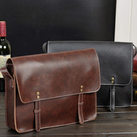 simple messenger leather bag