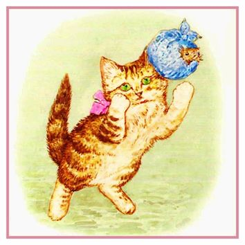 Moppet Kitten Playing inspired by Beatrix Potter Counted Cross Stitch or Counted Needlepoint Pattern