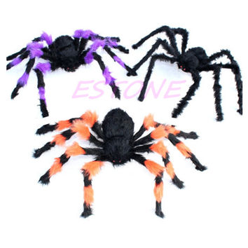 Y142 Free Shipping 30cm Plush Spider Halloween Prop Spider Indoor Outdoor Parties Bar DIY Decorations