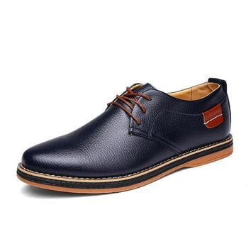 Round Toe Vintage Italian Casual Leather Shoes