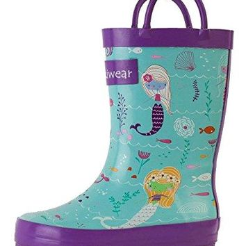 Oakiwear Kids Rubber Rain Boots (10 M US Toddler, Mermaids)