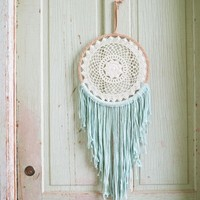 Macrame and Crochet Turquoise Dye Dreamcatcher