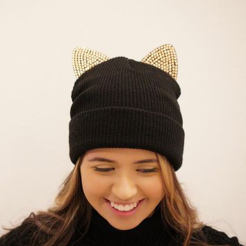 Bling Ear Cat Beanie (BLACK)