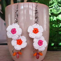 Boho Happy Daisy 2 Flower Crochet Earrings by CaliLilyTreasureCo