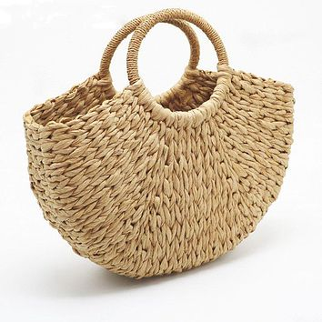 Hand-knitted Natural Straw Handle Summer Bag