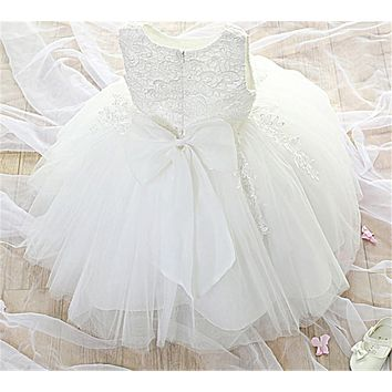 White Baby Girl Wedding Gown Princess Children Costume Kids Prom Party Wear Junior Lace Christening Dress For Little Girl 8 Year