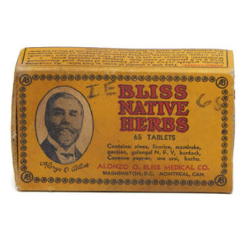 Vintage Bliss Native Herbs Cardboard Advertising Tin Alonzo Bliss AB