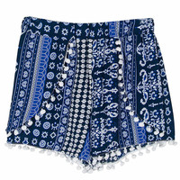 Dark Blue Mixed Folk Elastic Waist Pom Pom Shorts