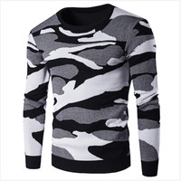 2016 New Men Winter Autumn Casual O-neck Camo Pullover Christmas Sweater Men Patchwork Knitted Sweaters Vintage Clothing MY666