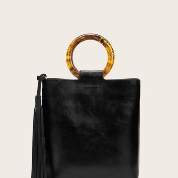Tassel Decor Tote Bag With Clutch